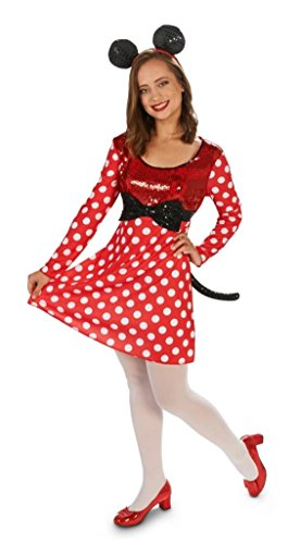 Womens Polka Dotted Minnie Mouse Costume Red ()