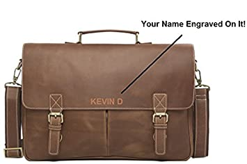 438a5ebcc18b Personalized Engraved Men s Leather Messenger Briefcase Bag  Amazon ...