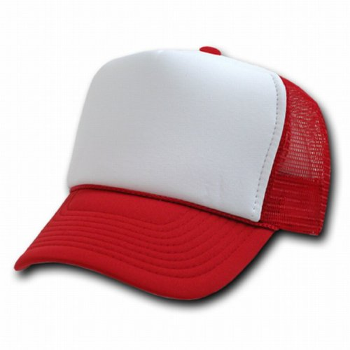 RED AND WHITE MESH TRUCKER STYLE CAP HAT