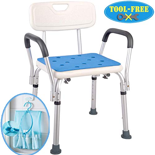 Medokare Shower Chair with Rails - Shower Seat with Arms for Seniors with Tote Bag and Handles, Tall Shower Chair for Elderly, Handicap Tub Shower Seats for Adults (White Chair with Rail) (Medical Shower Seat)