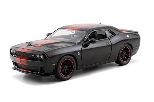 Jada Big Time Muscle 2015 Dodge Challenger SRT Hellcat 1/24 Scale Diecast Model Car Black With Red Stripes (Display Version No Retail Box) Version Diecast Car Model