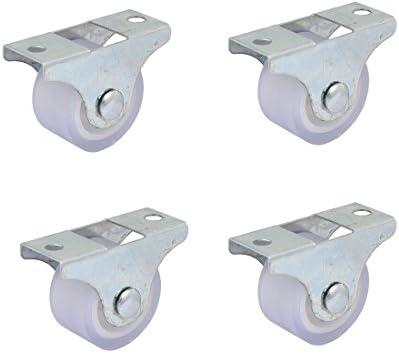 Sourcingmap – a16081600ux0094 pulgada de diámetro muebles carro placa superior de hierro Silencioso PVC fija Caster Rueda – blanco (4 piezas)