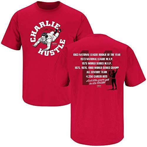 Nalie Sports Cincinnati Baseball Fans. Charlie Hustle Red T-Shirt (Sm-5X) (Short Sleeve, X-Large) ()