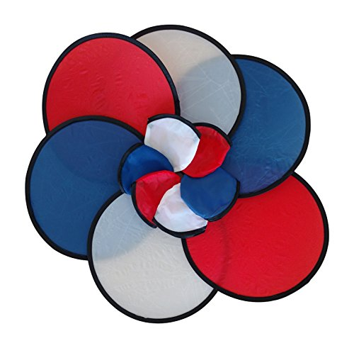 BZANY Red, White and Blue USA Patriotic Toy Pocket Fan Flying Disc With Pouch (Pack Of 12) by BZANY