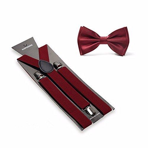 Men's Solid Color Pre-tied Adjustable Bowtie Y-Back Clip Suspenders Set for Wedding (Burgundy) ()