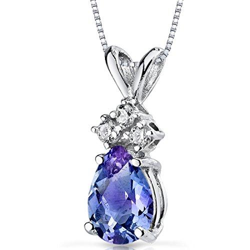 Revoni 14ct or blanc 585/1000 en forme de poire 1.00 Carats Alexandrite créé diamant pendentif Collier