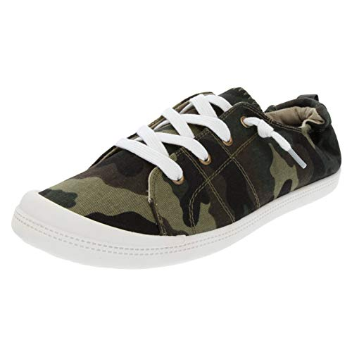 Rampage Women's Grateful Comfortable Slip On Sneaker Shoe with No-Tie Laces and Cute Design 10 Washed Camo ()