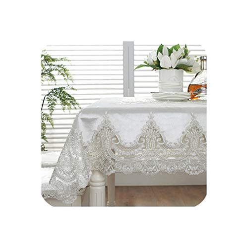 Proud Rose European Luxury Table Cloth Chair Cover Lace Rectangular Table Cover Simple Wedding Cloth Cover Chair Cushion,Light Beige,110x160cm -