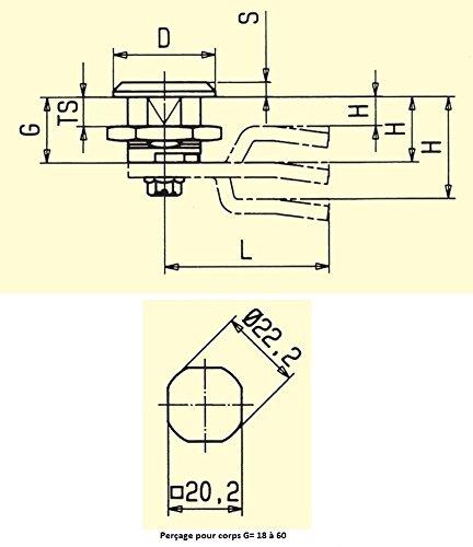 Ajile/® 2 pi/èces Verrou /à came plate cl/é triangle 8 mm polyamide noir