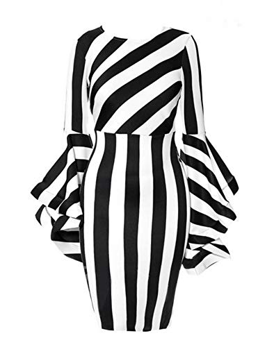 YUHENG Large Round Neck Dress for Women Irregular Black and White Stripes, Long Horn Sleeve, Fashionable and Elegant Dress (Black 2XL)