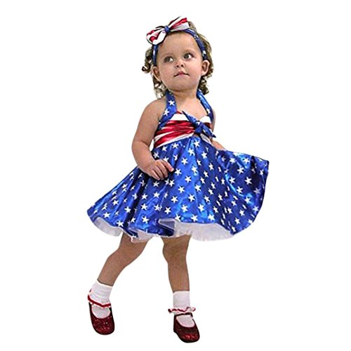 Headband Split (Aurorax 4th of July Baby Girls Dresses+Headband,2018 Hot Sale Summer USA Star Print Tassel Straps Casual Sleeveless Swing Dress Striped Outfit for 12M-36M (Blue, 18M=Length:16.9