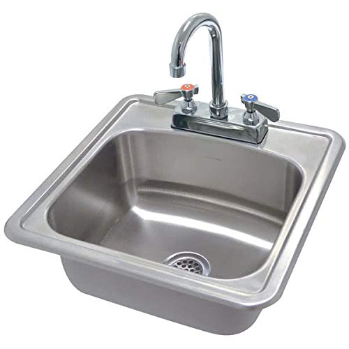 Stainless Steel Drop In Sink One Compartment 15 X 15 X 5