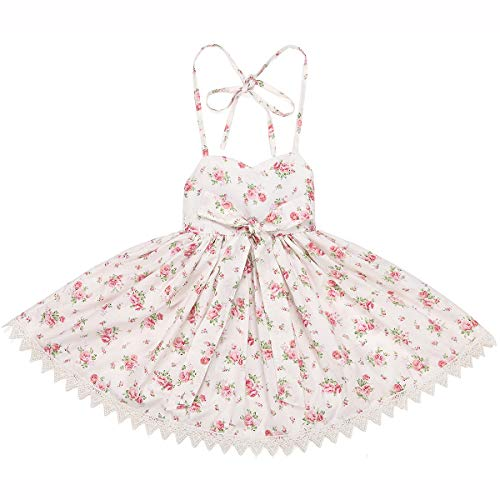 Flofallzique Vintage Floral Girls Dress Cream Birthday Party Sundress for Kids