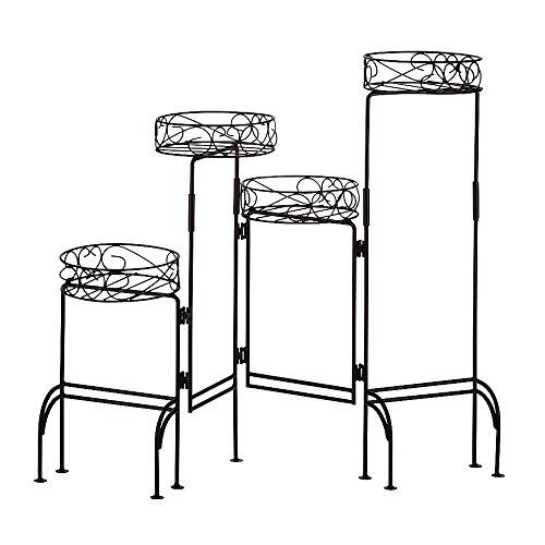 New Metal 4 Level Folding Plant Stand Storage Rack Shelf Indoor Outdoor 24