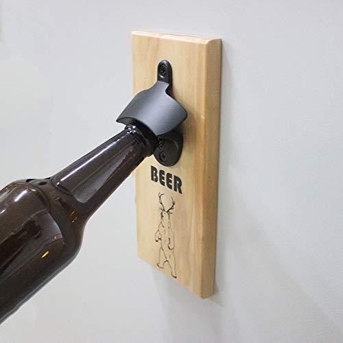 Strong Magnetic Refrigerator Mounted Bottle Opener, Zinc Alloy Beer Opener & Cap Catcher - Wood Hand Painted ()