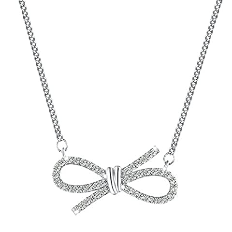 Yalong Happiness and Charm Cubic Zirconia Bowknot Pendant White Gold Plated Women Bow Necklace, - Cubic Zirconia Pendant Jewelry