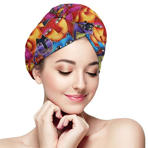 IGYoh Gato Libre Women Microfiber Quick Dry Hair Towel Soft Absorbent Shower Hat Black