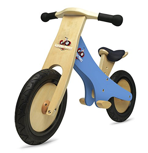 Kinderfeets Classic Chalkboard Wooden Balance Bike, Kids Training No Pedal Balance Bike, Blue