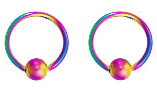 Forbidden Body Jewelry 16g 11mm Rainbow Surgical Steel Captive Bead Body Piercing Hoops -