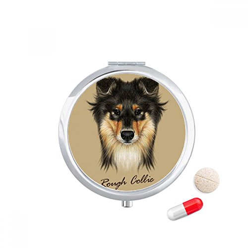 Long-haired Rough Collie Pet Animal Travel Pocket Pill case Medicine Drug Storage Box Dispenser Mirror Gift (Haired Collie Rough)