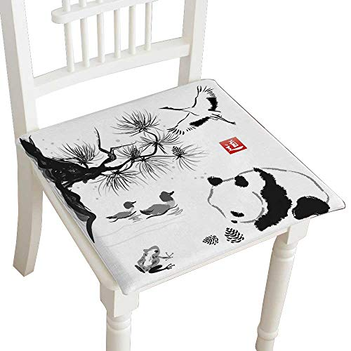 HuaWuhome Cushion Card with Cedar in The Bird and Panda Bear TraditionalJapanese Hieroglyph Way Home Kitchen Office Chair Pads Seat Pads - Double Cedar Rocker