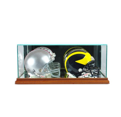 Perfect Cases NFL Double Mini Football Helmet Glass Display Case, Walnut
