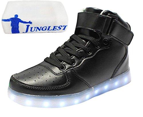 [Present:kleines Handtuch]JUNGLEST Unisex 7 Farbe Farbwechsel USB Aufladen LED Leuchtend High-top Sport Schuhe Hoch Sneaker Tu Schwarz