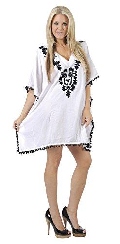 La Leela rayón viscosa playa bordada de natación con cuello en V de encubrir las mujeres túnica de la blusa de la parte superior caftán Color blanco
