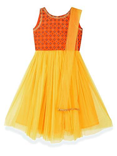 K&U Girls' Orange and Yellow Dupion Silk Net Lehenga Choli 11-12 Years