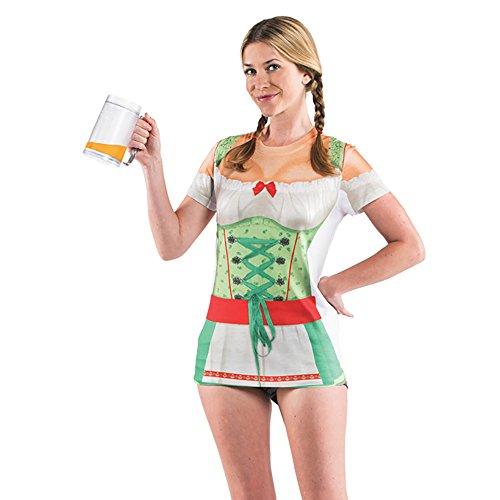 Oktoberfest Allover Women's Beer Stein Girl Barmaid Costume T-Shirt (XL) (Beer Maid Costumes)
