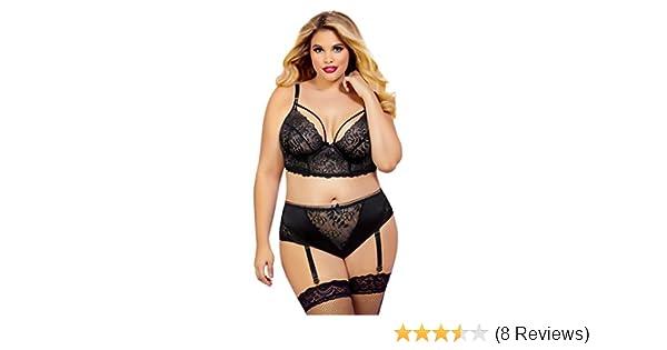 af5b3064e165f Amazon.com  Sexy Plus Size Lace Long Line High Waist Bra Lingerie Set  16 18  Clothing