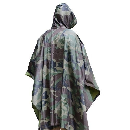 Unisex Men Women Multifunctional Military Camouflage Rain Poncho Rainwear Waterproof Hooded Ripstop Wet Festival Rain Coat Outdoor Sports Camping Hiking Hunting War Game
