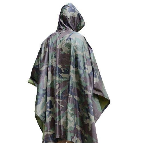 Unisex Men Women Multifunctional Military Camouflage Rain Poncho Rainwear Waterproof Hooded Ripstop Wet Festival Rain Coat Outdoor Sports Camping Hiking Hunting War Game
