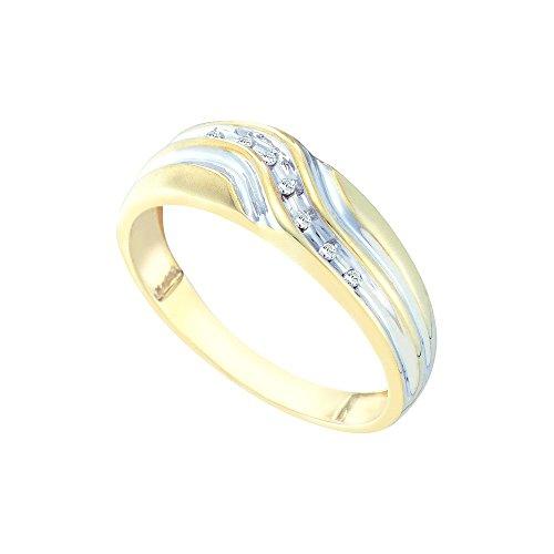 10kt Yellow Gold Mens Round Diamond Single Row Two-tone Wedding Band Ring 1/20 Cttw by JawaFashion