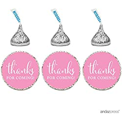 Andaz Press Chocolate Drop Labels Stickers, Thanks for Coming!, Pink, 216-Pack, For Wedding Birthday Party Baby Bridal Shower Hershey's Kisses Party Favors Decor Envelope Seals