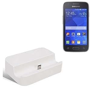 Dock USB Micro adecuado para el Samsung Galaxy Ace 4 LTE, blanco   estación de carga incluyendo el cable USB 2.0 cable de datos / cargador, la horquilla del muelle de escritorio cargador universal adecuado para el teléfono móvil para smartphones con conector micro USB, cargador de escritorio del cargador, marca: KS-Comercio (TM). compatible con Samsung Galaxy Ace 4 LTE