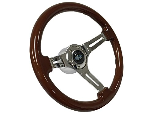 1964 1965 1966 1967 Ford Blue Oval Sport Wood Mahogany Finish Steering Wheel Kit, Hub Adapter, Chrome Button & Emblem / Fits Ford Mustang, Fairlane, Galaxie, Falcon & ()