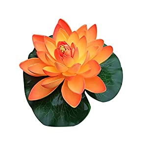 zzJiaCzs Artificial Lotus Flower,Artificial Lotus Flower Fake Floating Water Lily Garden Pond Fish Tank Decor - Orange 66