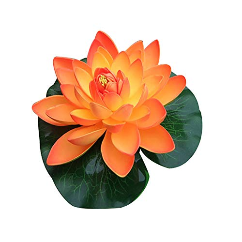 (Shangwelluk Artificial Floating Foam Lotus Flowers for Pool, Realistic Water Lily Pads, Red White Orange Perfect for Home Outdoor Patio Pond Aquarium Wedding Party Decorations (Orange))