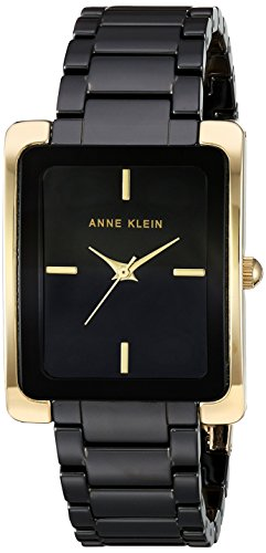 (Anne Klein Women's AK/2952BKGB Gold-Tone and Black Ceramic Bracelet Watch)