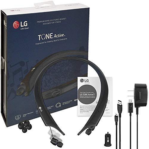 LG Tone Active Bluetooth Wireless Headset HBS-A80 HD Sound - Water & Sweat Resistan with LG Wall & Car Charger (Certified Refurbished)