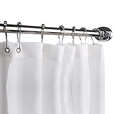 Homitex Shower Curtain Mildew-Free Water-Repellent Fabric Shower Curtain Liner, 72 × 72inch, White