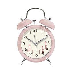4 Metal Twin Bell Alarm Clock Pink Heart-Shaped Floras