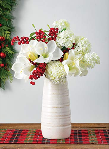 "Sullivans Ceramic Vase, 11.5 x 5 Inches, Distressed White (CM2496) - Stylish ceramic vase makes a great wedding, housewarming or birthday gift Ideal decorative touch to any home with or without floral or greenery added Product Dimensions: 5""L x 5""W x 11.5""H; Waterproof - vases, kitchen-dining-room-decor, kitchen-dining-room - 41Z34txymvL -"