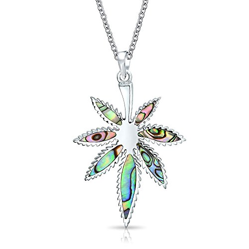 - Large Rainbow Abalone Shell Inlay Marijuana Leaf Dangle Pendant Necklace For Women 925 Sterling Silver With Chain