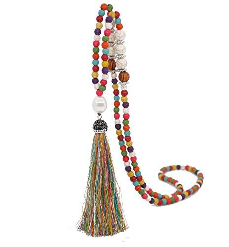 Beads Necklace Chakra Boho Statement Long Chain Tassel Yoga Jewerly Handmade Fashion Jewelry