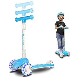 3 Wheels Kick Scooter for Kids-Adjustable Height, Flashing Wheel Lights, Micro Sport Scooters,Foldable & Durable, Lean to Steer, Toddler Scooter for Boys/Girls 3-12 Years Old,Blue