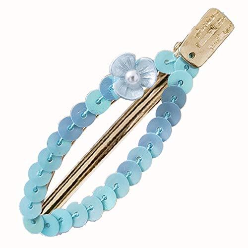 Fashion Sequined Hollow Leaf Floral Faux Pearl Hairpin Women Hair Clip Barrette - Blue