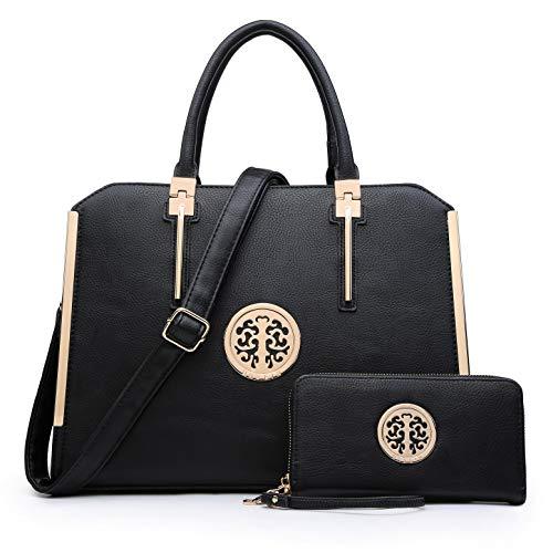 (Dasein Women Handbags Purses Vegan Leather Satchel Structured Work Bag Shoulder Totes for 13 Inches Laptop Tablet)