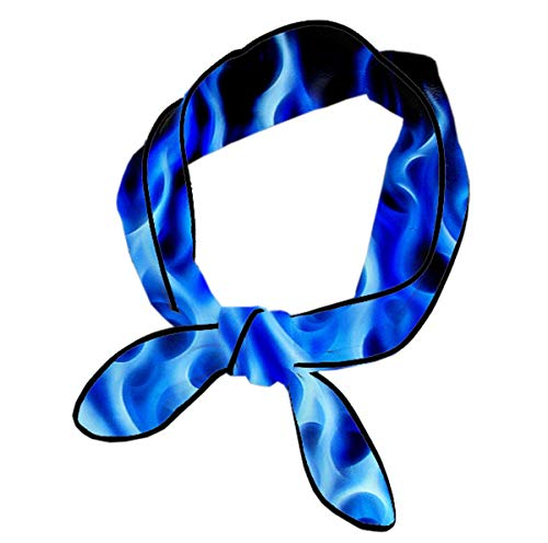 Women's Neck Scarf Fashion Soft Skinny Satin Long Chiffon Head Scarf, Blue Flame Fire Head Neck Multifunction Knot Ties for Party Prom Daily -